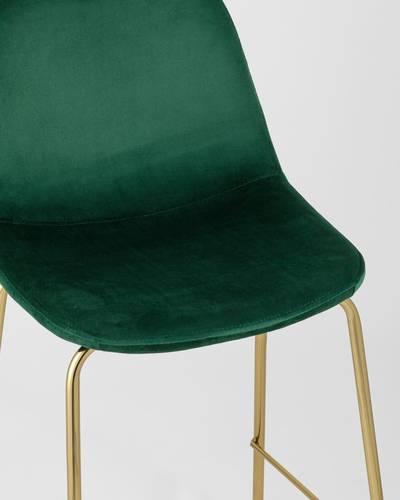 Стул полубарный Валенсия велюр зеленый золотые ножки